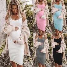 Maternity Women Dress Pregnancy Dresses Mama Clothes Scoop Neck Sleeveless Solid Knee Length Pregnant Womens Clothing bodycon grid spliced sleeveless scoop neck dress for women