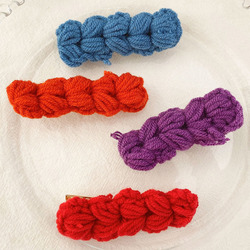 [Xwen] Girls' Love Twist Hairpin Color Hand-woven Wool Bangs Clip Sweet Autumn And Winter Hairpin Hair Accessories OH2106