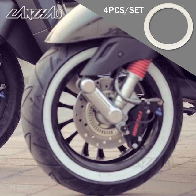 "4 pçs/set 12 ""branco retro borracha roda hub lado adesivo, anel para piagem vespa gts gtv sprint primavera scooter 12 polegadas 150"