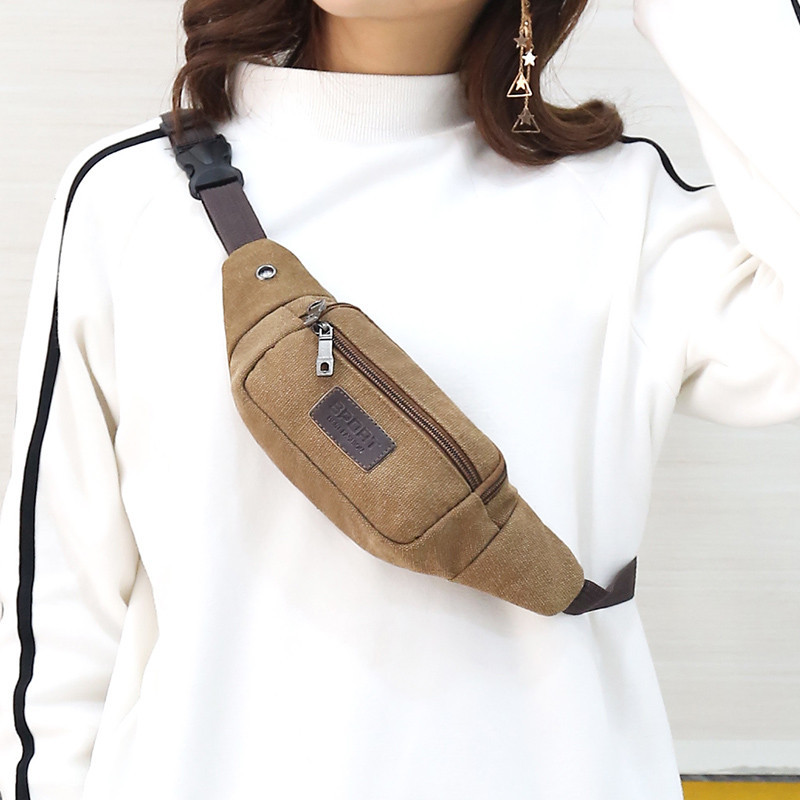 2019 New Style Canvas Waist Pack Men And Women Multi-functional Sports Waist Pack Large-Volume Business Bag Change Mobile Phone