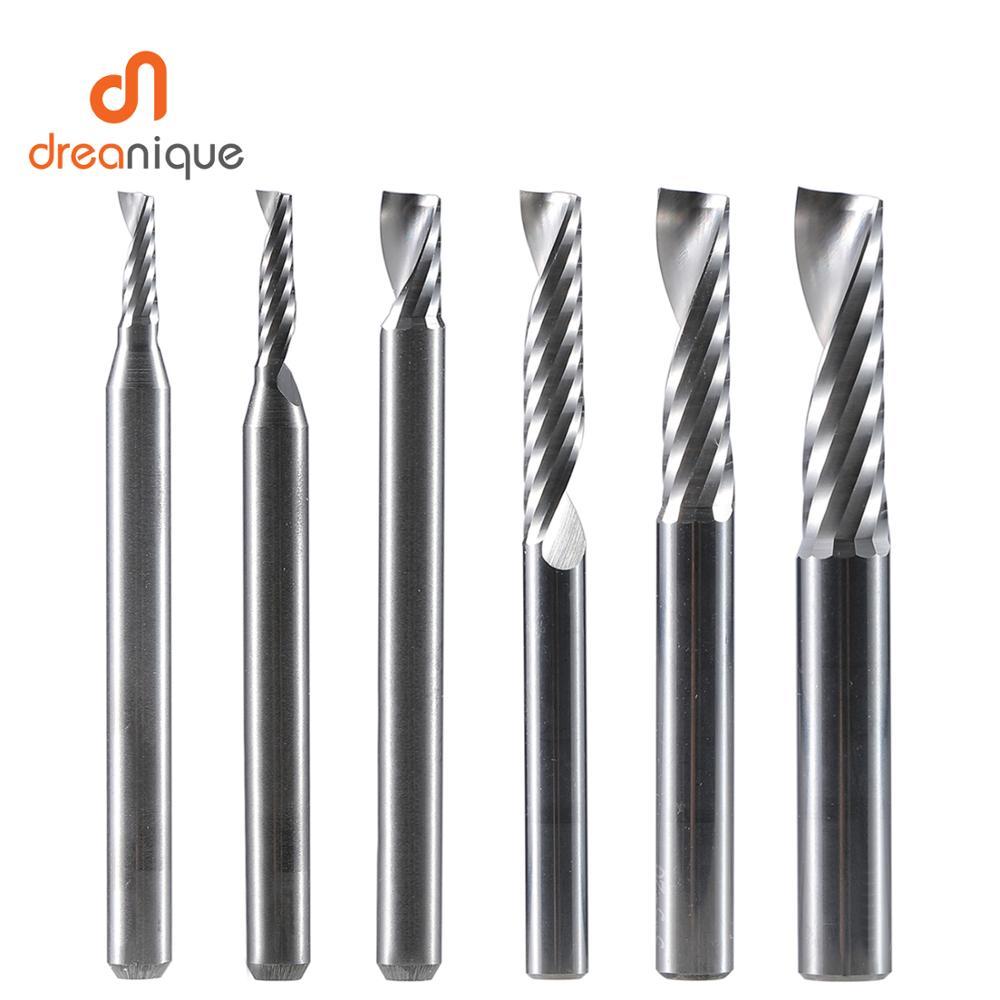 CNC Router Engraving-Bit Spiral-End-Mill Woodworking Single-Flute Metal Aluminum 4/6-Shank