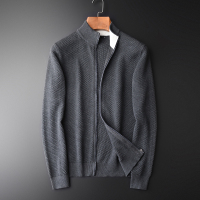 Men Hight Quality Grey Navy Solid Color Cardigan Zipper Sweater Male Fashion Slim Fit Stand Collar Mens Sweaters