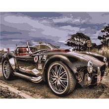 Black Sports Car Digital Acrylic Hand Painted Canvas Oil Paintings Decoration Home Wall Art Christmas Gift