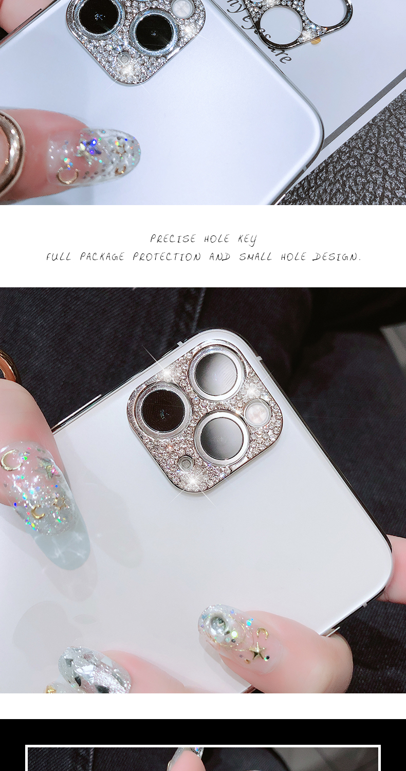 Bling Diamond Glitter Rhinestone Camera Protective Lens For iPhone 11 Pro Max Ring 10