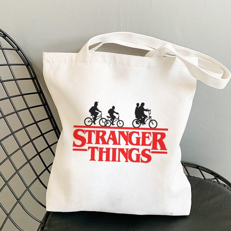 Simple Casual Stranger Things Cartoon Letter Print Shoulder Canvas Bags Vogue Harajuku shopping bag Handbag Fun Women Bag Wallet(China)