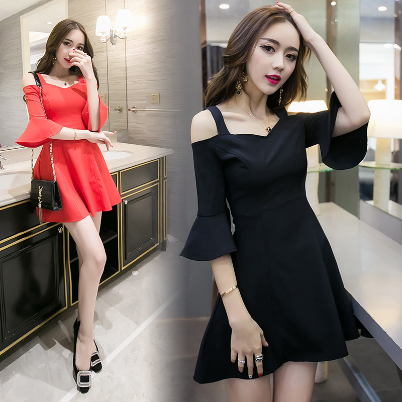 2018 Spring And Summer New Style South Korea Debutante Fashion Bell Sleeve Bow A- Line Dress