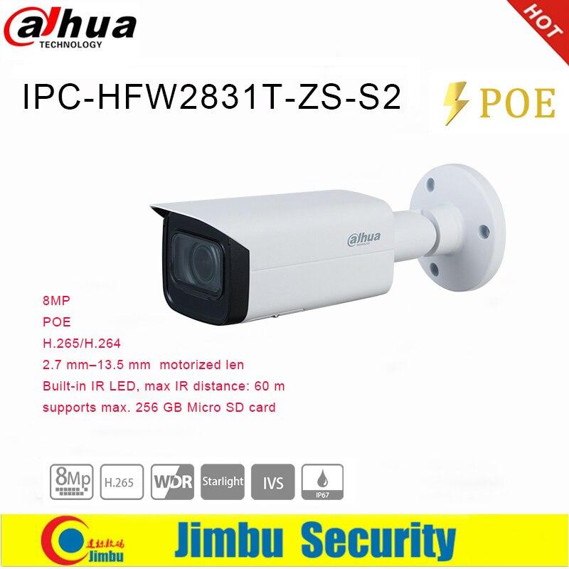 Dahua caméra IP POE 8MP IPC-HFW2831T-ZS-S2 2.7mm-13.5mm objectif motorisé fente Micro SD jusquà 256G IP67