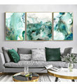 Abstract Mint Green Marble Hand Painted Green Canvas Oil Painting Gallery Interior Wall Oil Pictures for Living Room Home Decor