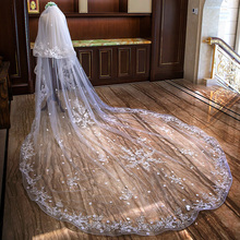 Bridal Veils Blusher Lace-Edge Cathedral-Length Comb Applique Ivory White Wedding-2 Luxurious