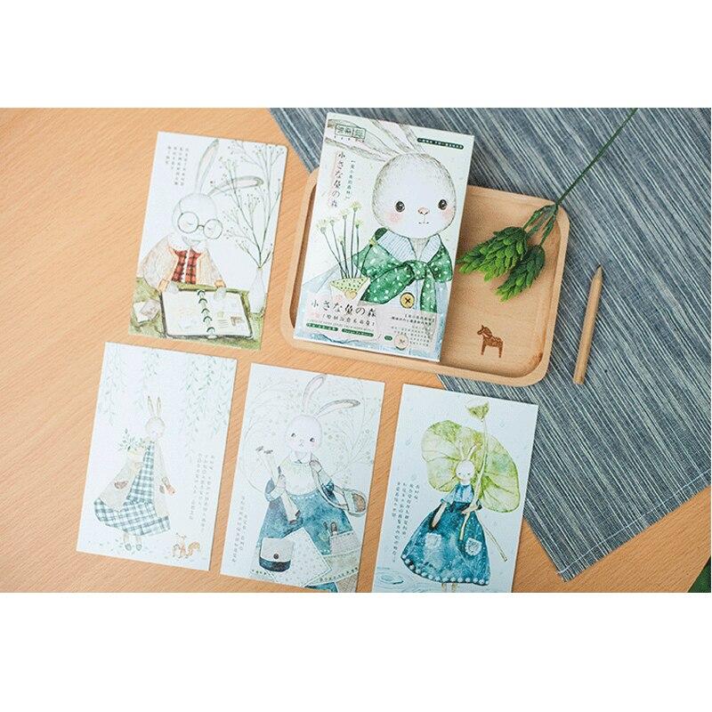 30 Pcs/lot Lovely Rabbit Forest Postcard Set Greeting Card Envelope Gift DIY Gifts