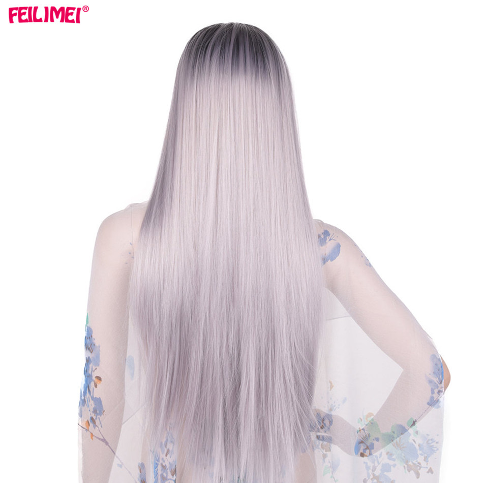 Feilimei Ombre Gray Pink Wig Synthetic Heat Resistant Hair Cosplay Wigs For Women 60cm 280g Long Straight Black Hair Extensions