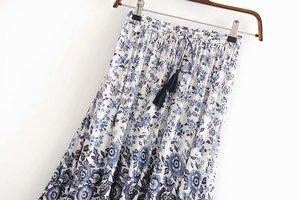 Image 2 - Vintage chic fashion Hippie women  floral print  tassel beach Bohemian skirt High Elastic Waist  Boho rayon Maxi Skirt Femme