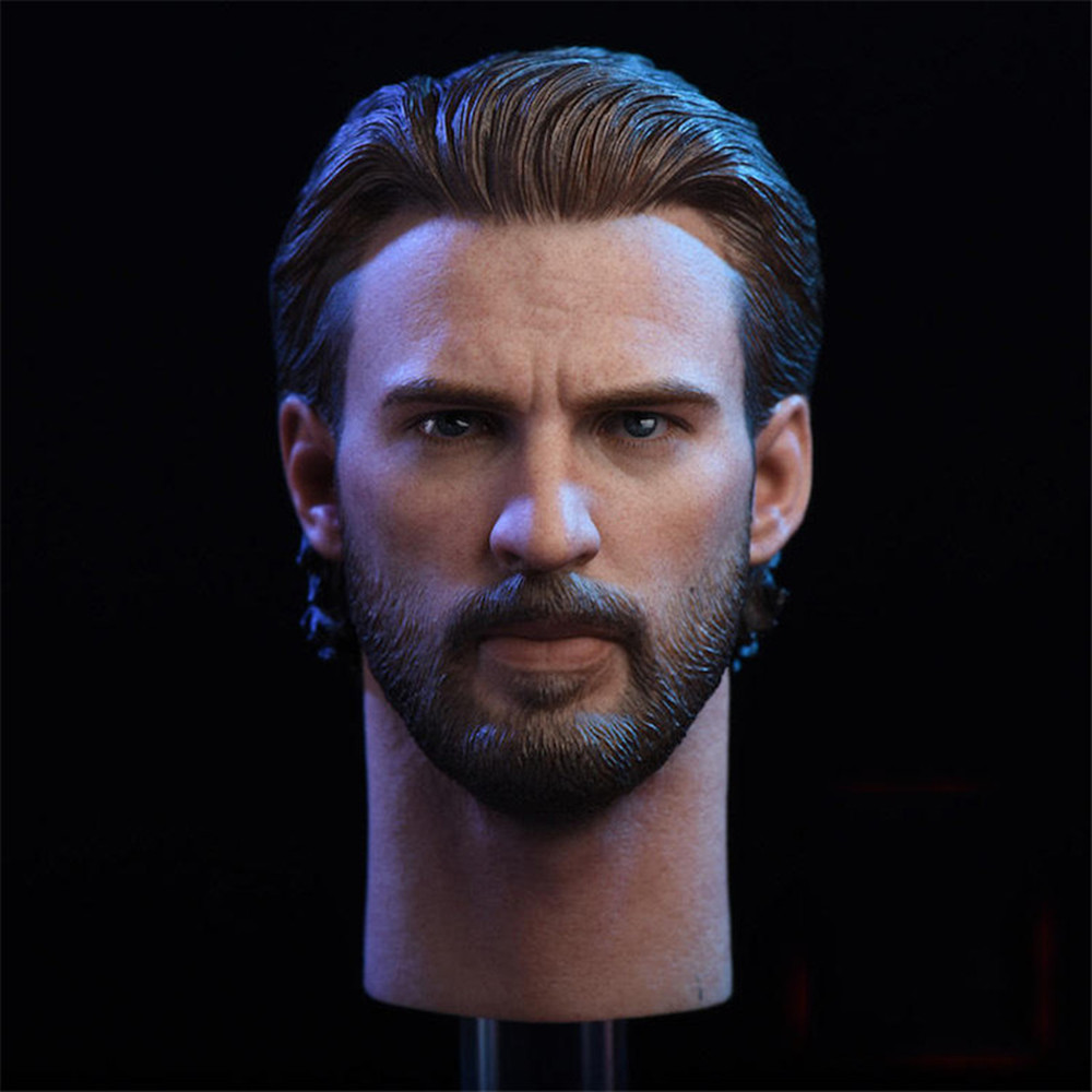 In Stock Collectible <font><b>1/6</b></font> NR08 Captain America 6.0 Male Head Sculpt Carved <font><b>Beard</b></font> Version with Metal Shield Model for 12'' Body image