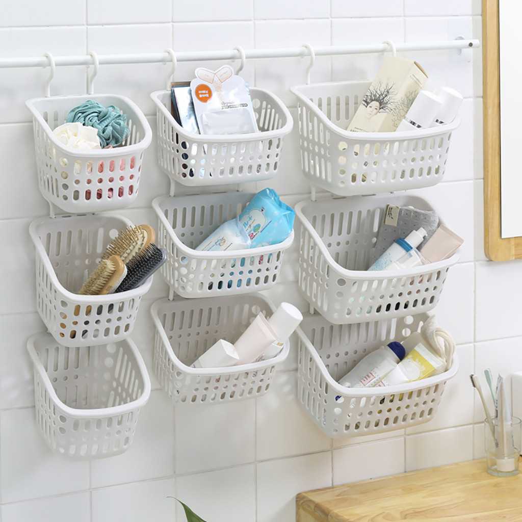 1PC Plastic Hanging Shower Basket With Hook For Bathroom Bedroom Kitchen Debris Storage Holder Space Saving Storage#25