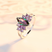 KOFSAC 925 Sterling Silver Fashion Jewelry Simple Crystal Color Horse Eye Zircon Purple Bow-knot Ring Women Party Accessories