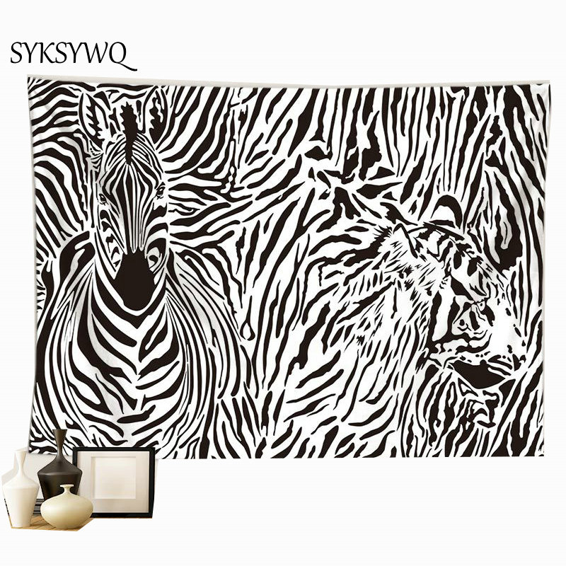 abstract animal tapestry zebra leopard wall hanging tapisserie murale wall carpet drop shipping image