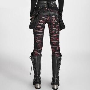 Image 3 - Женские готические леггинсы в стиле панк RAVE, эластичные вязаные дышащие рваные брюки черного, красного цветов в стиле стимпанк