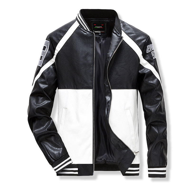 Leather Jacket Men's High Quality Fashionable PU Casual Color Stand-up Collar Slim Motorcycle  Men Leather Jacket