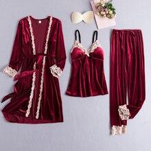 3 pièces velours femmes pyjamas costume hiver chaud Sexy mariée demoiselle dhonneur mariage vêtements de nuit chemise de nuit décontracté Kimono ample peignoir robe