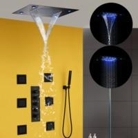 Thermostatic Bathroom Shower Faucet Set Black Bath Mixer Waterfall Rain Shower System Ceiling LED Shower Head Brass Hand Shower
