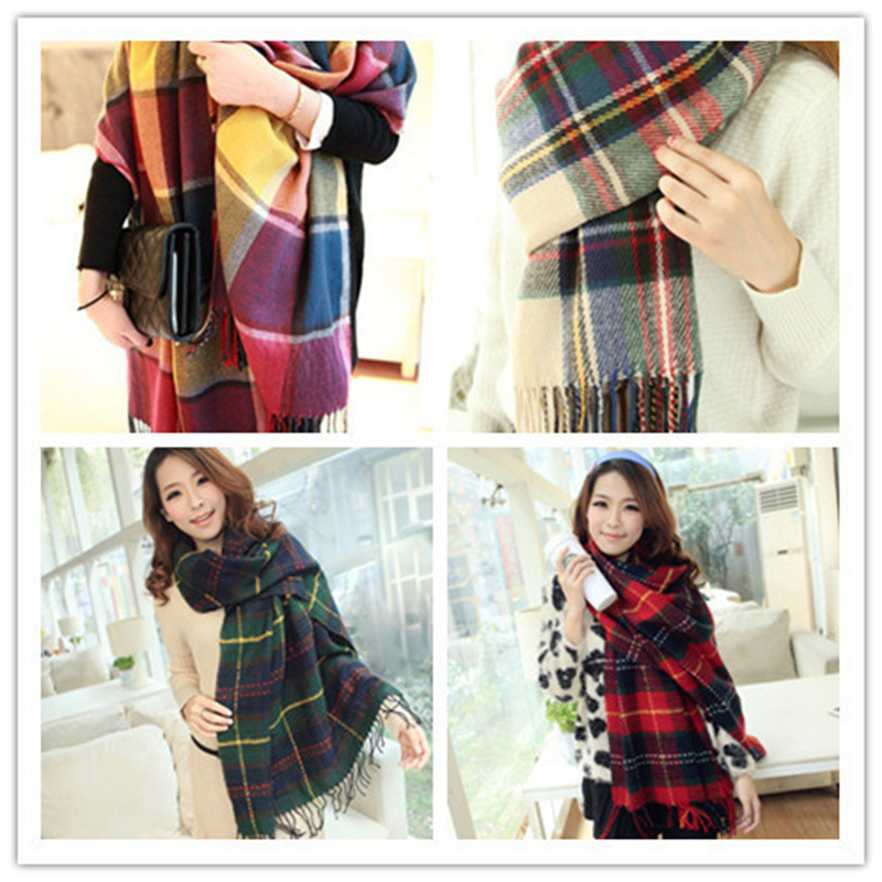 2019 South Korea University Style New Style Jacquard Women's Tassels Warm Couples Plaid Shawl Plaid Scarf Manufacturers