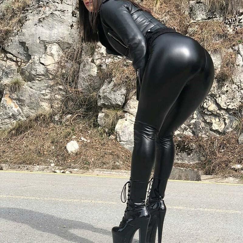 NORMOV 5XL Plus Size PU Leggings Woman High Waist Skinny Push Up Elastic Trousers Sexy Slim Leggings