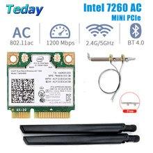 1200mbps intel 7260 mini pcie wifi placa de rede sem fio banda dupla 7260hmw bluetooth 802.11 ac wifi adaptador antena para desktop