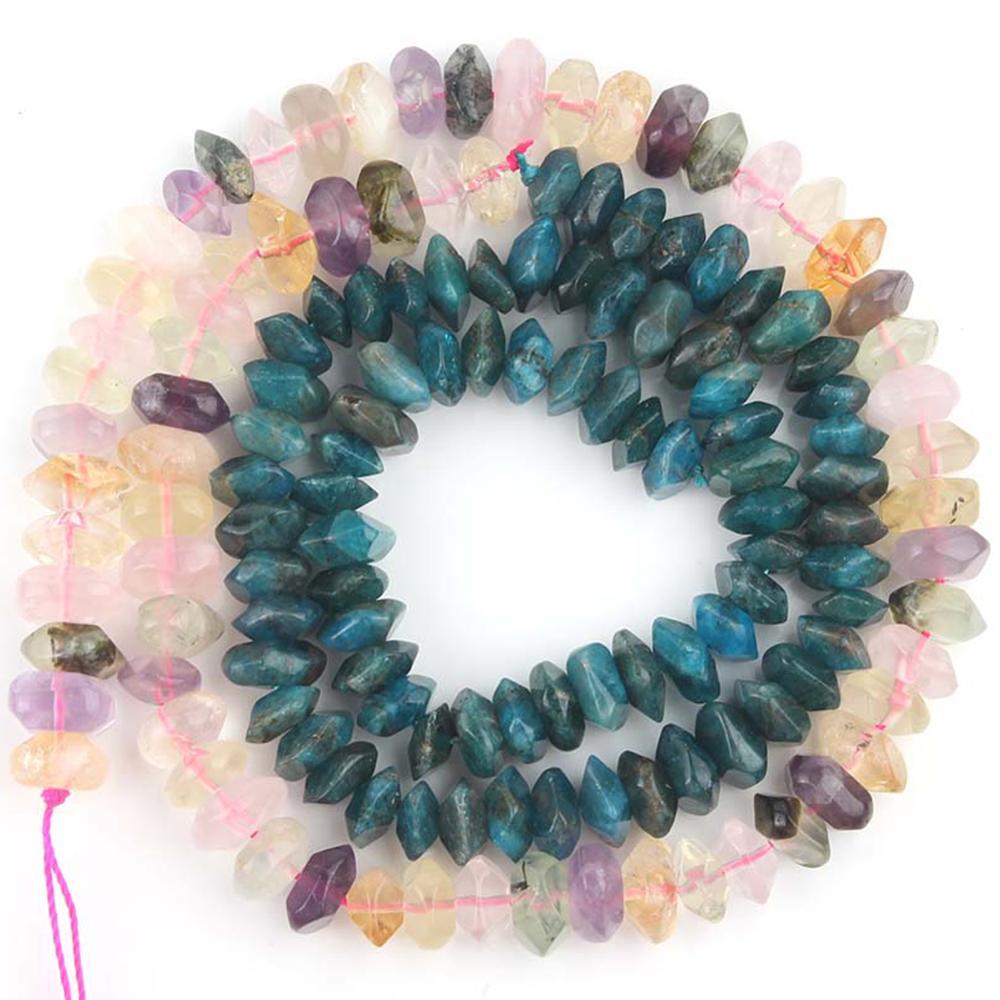 Natural Rhombus Gem Colorful Quartzs Crystal Blue Apatite Irregular Loose Spacer Beads For Jewelry Making DIY Perles Bracelet(China)