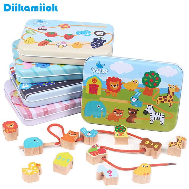 Kids Wooden Building Blocks Fruit / Animal / Digital / Pattern Cognitive DIY Threading Beaded Game Educational Toys for Children