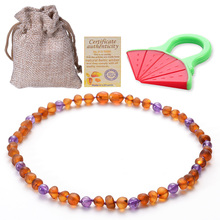 Amber Necklace Baltic Teething for Baby Handmade Natural Pain Relief with Raw Certified Safety Kno