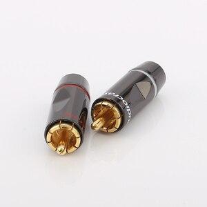Image 3 - 1Set Audiocrast R003 24k Solder Gold plated RCA Connectors Gold Plated RCA Plug Audio Male Connector Cables.