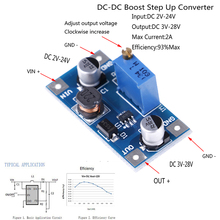 Nowy jeden lub 2 szt. 2A DC-DC wzmocnienie Step Up Volt konwerter zasilacz 2V-24V do 3V 5V 6V 9V 12V 19V
