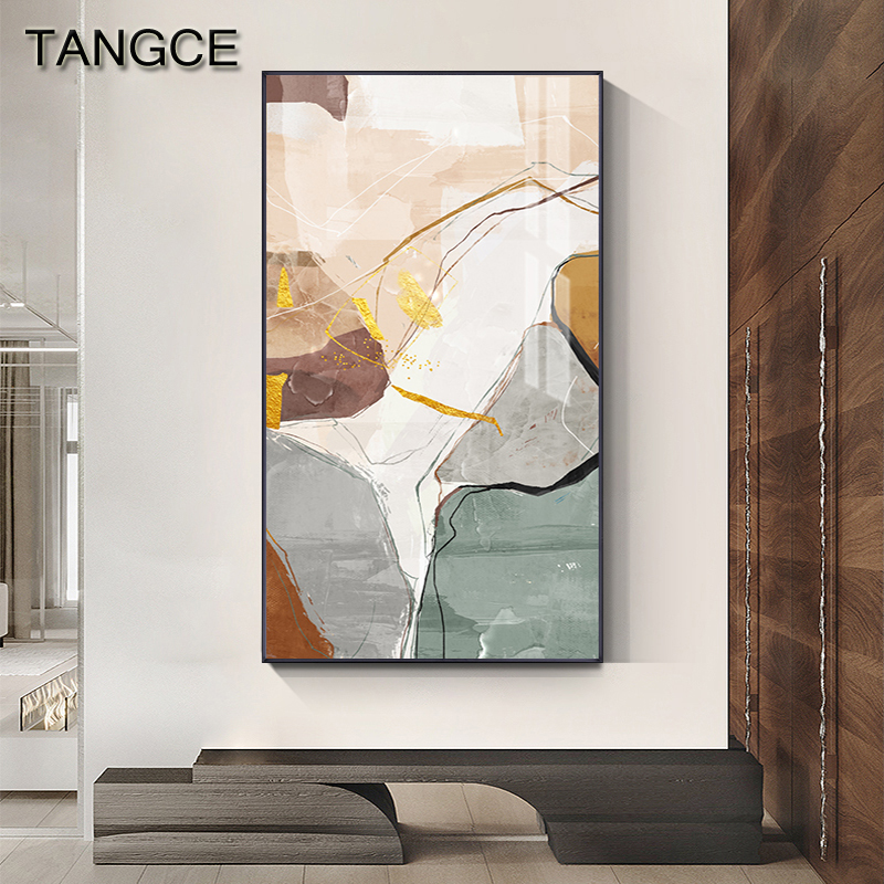 Abstract Golden Color Block Canvas Painting Nordic Orange Green Poster N Print Contemporary Wall Art Picture Modern Living Room