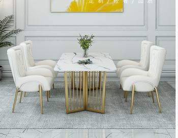 Nordic table and chair combination Italian light luxury rectangle modern simple marble household small house type