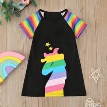 Summer Girls Dress Cartoon Rainbow Print Princess Pageant Gown Birthday Party Costume Fashion Lovely Sweet Kid Clothes 2020 New(China)