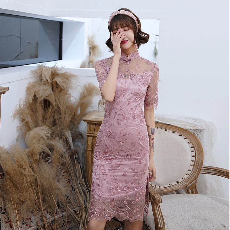 New Chinese Style Women Cheongsam Summer Lace Daily Dress Embroidery Flower Vintage Handmade Button Stage Show Qipao Size S-3XL