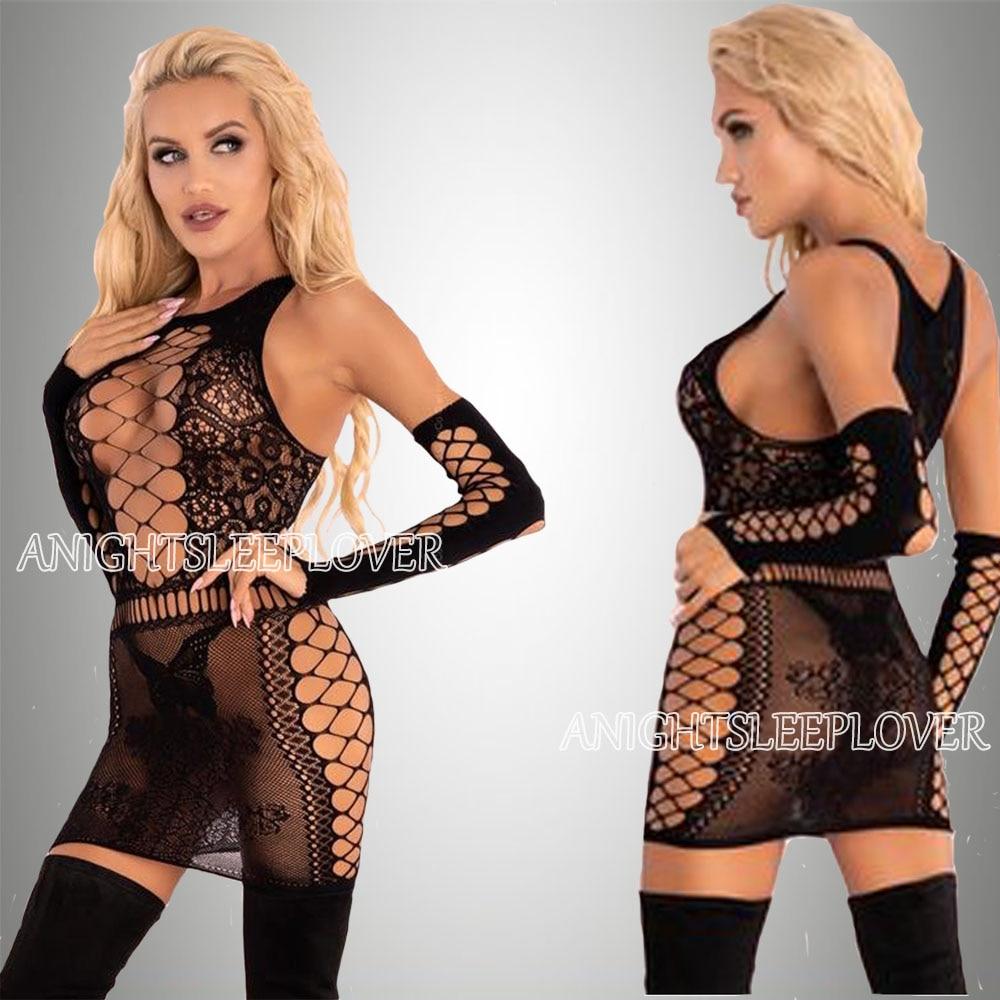 Sexi Women Fishnet Night Dress Hot Bodycon Clubwear Vestido Sexy Costumes Catsuit Erotic Transparent Midi Dresses mujer porno 15