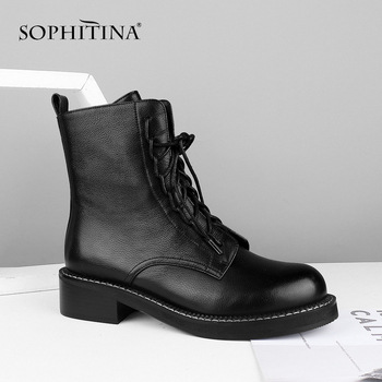 SOPHITINA Lace Up Ankle Boots High Quality Genuine Leather Round Toe Soild Med Heel Women Shoes Hot Sale Work Warm Boots C582 sophitina handmade ankle boots high quality sexy high thick heel retro round toe women boots buckle winter woman warm shoes b37