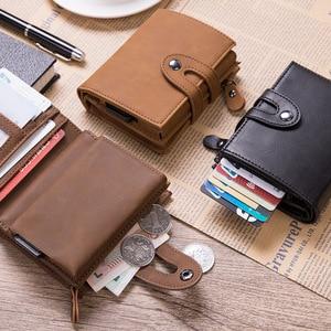 Image 2 - DIENQI Vintage Leather RFID Blocking Card Holder Mens Smart Business Wallet Big Bank Creditcard Holder Pocket Case Protector Bag