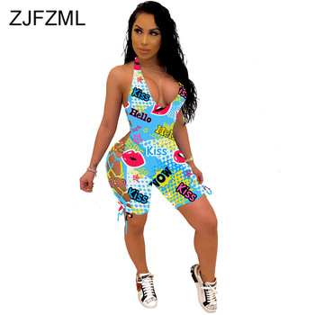 Letter Mouth Lip Print Sexy Beach Playsuit Women Deep V Neck Side Cut Out Short Romper Summer Cross Backless One Piece Overalls purple sexy cut out backless playsuit with self tie design