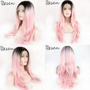 Peluca con malla frontal sintética ZESEN para mujer, larga, corta, 1bt/rosa, pelucas de pelo ondulado Natural, pelucas para Cosplay resistentes al calor