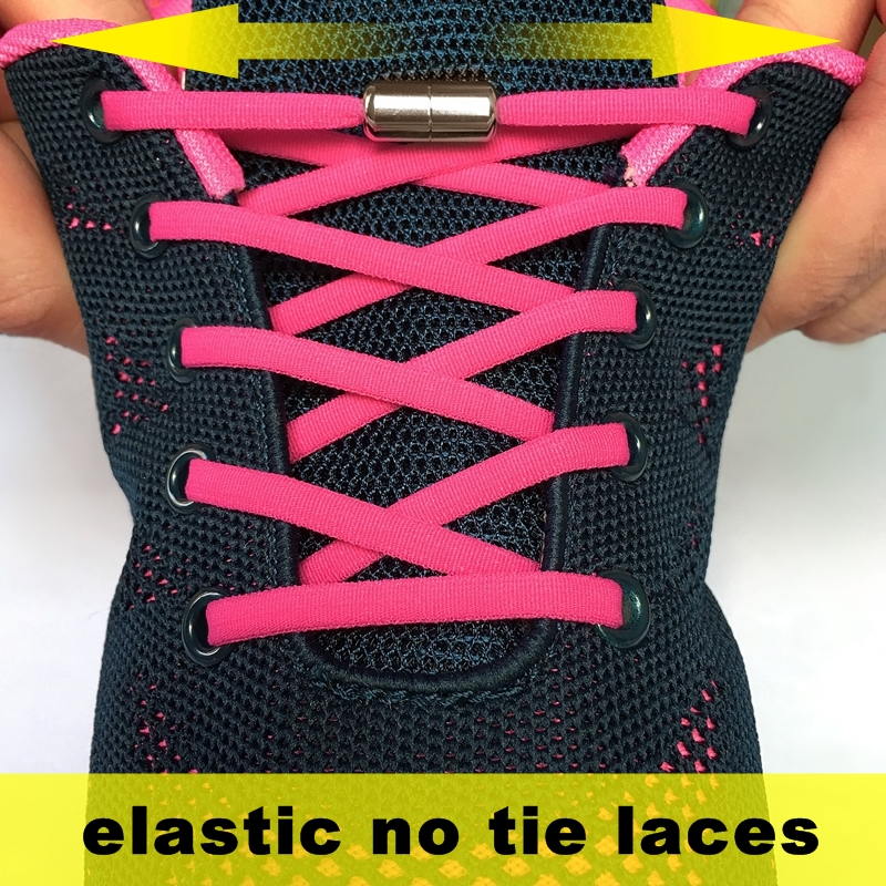 1Pair No Tie Shoelaces Elastic Locking Round Shoelace Quick Lazy Laces Strings 22 Color Free Shipping