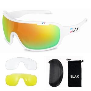 Image 3 - ELAX gafas de sol deportivas para hombre y mujer, lentes para ciclismo de montaña, con protección UV400, 3 lentes, 2019