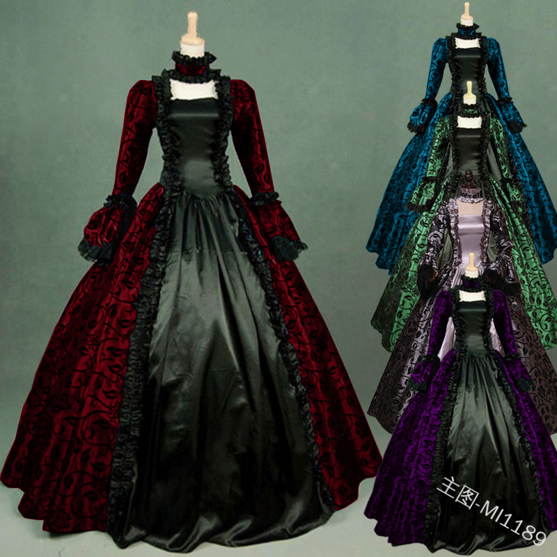 S-5XL Medieval Women Fashion Plus Size Gothic Victorian Maxi Dress Vintage Lace-up Floor Length Lace Dress Stylish Cosplay Ball