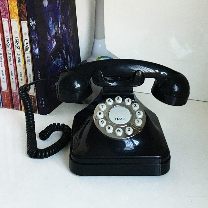 Teléfono Fijo Vintage Retro teléfono fijo con cable botón marcando teléfono de escritorio para decoración de la oficina en casa-Negro