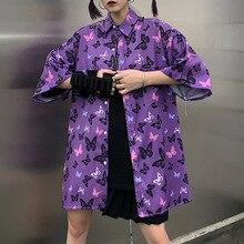 Rosetic Модные 2020 Бабочка Майка Женщин Животных Печать Блузка Плюс Размер Корейский Харадзюку Топы Лето Уличной Сверхразмерные Рубашки