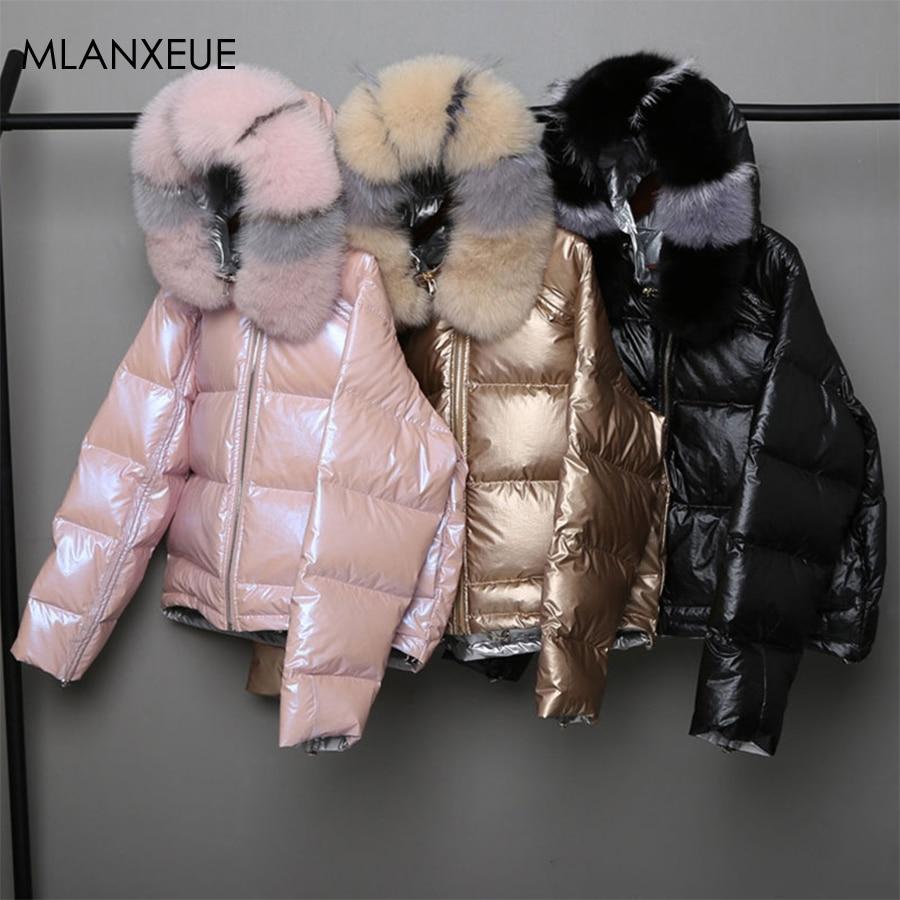 Wear On Both Sides Fur Hooded Down Coats Women Solid Loose Parkas Coat Female Thicken Warm Winter Jackets Zipper Casaco Feminino