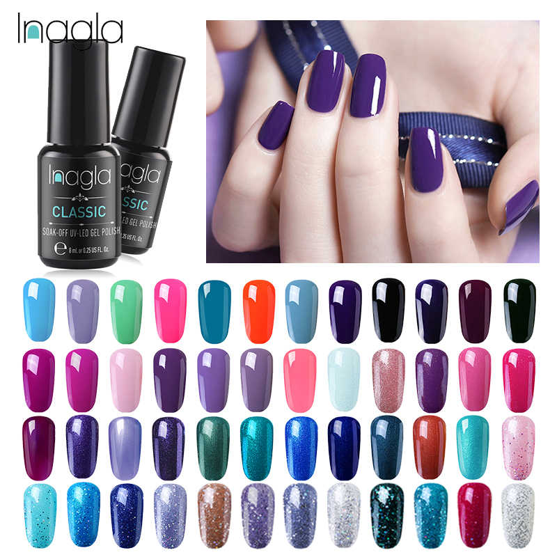 Inagla Warna Kuku Gel Polandia Glitter LED Uv Gel Varnish Nail Art Gel Polish Set UV Vernis Semi Permanen Primer top Coat 8 Ml