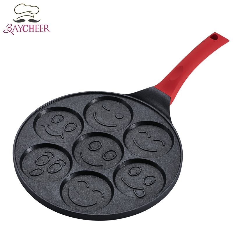 Smiley Face Pattern Pancake Egg Frying Maker Pan Omelet Cooker Non-stick Pan Cake Griddle With 7 Unique Faces Breakfast Cookware