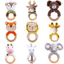 3 pçs chocalho do bebê brinquedos dos desenhos animados animais crochê anéis de madeira chocalho diy crochê chocalho pulseira mordedor conjunto bebê produto